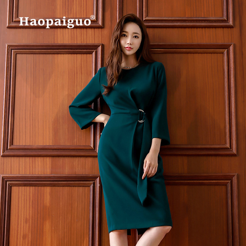 Plus Size OL Office Work Dress Women O neck Wrist Solid Casual Winter Dress Women with Sashes Corset Midi Wrap Dresses Ladies in Dresses from Women 39 s Clothing