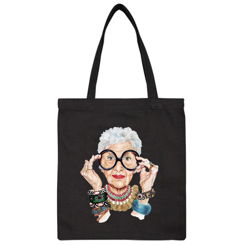Tumblr Fashion Old Women Print  Vintage Harajuku Casual Female Canvas Shopping Bags Cool Cartoon Summer Ulzzang Bags