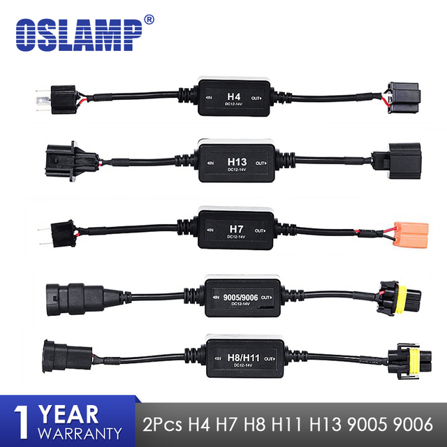 Oslamp 2pcs Canbus Wiring Harness Adapter H4 H7 H8 H9 H11 H13 9005 on h13 hid wiring, h13 plug harness, hid kit headlight harness,