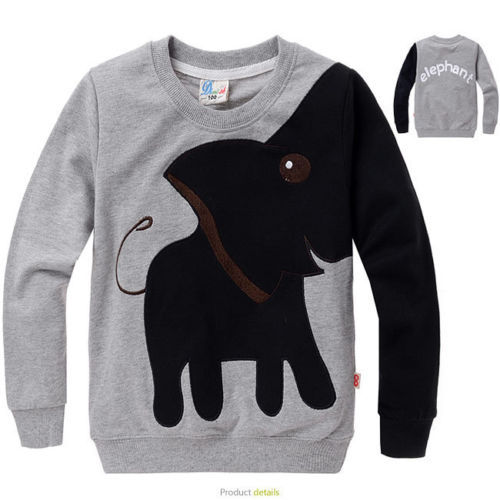 Kids Boys Long Sleeve Tops Color Block Animal Elephant Sweater T-shirt Size 3-8Y