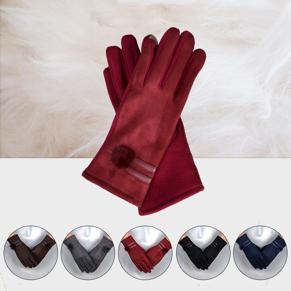 1Pair Black,Red,Blue,Grey,Brown gloves women Winter Warm Touch Screen Riding Drove Glove ...