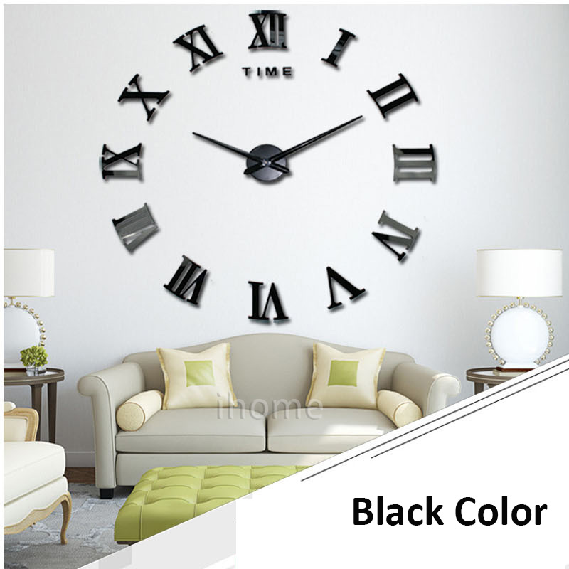 Living Room Wall Clock DIY Large Quartz Acrylic Mirror 3D Roman Numerals  Design Fashion Art Home Decor Stickers Wall Watche In Wall Clocks From Home  ...