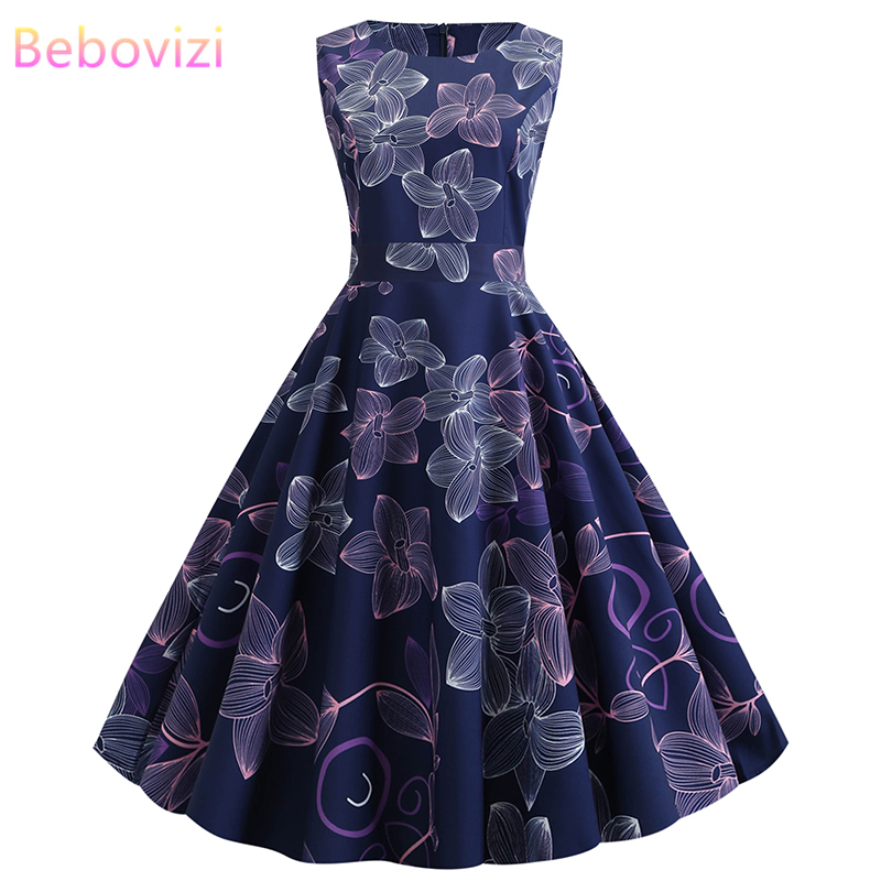 Bebovizi New Women Clothes 2019 Casual Summer Dresses Flower Print Elegant Office Vintage Plus Size Black Party Bandage Dress