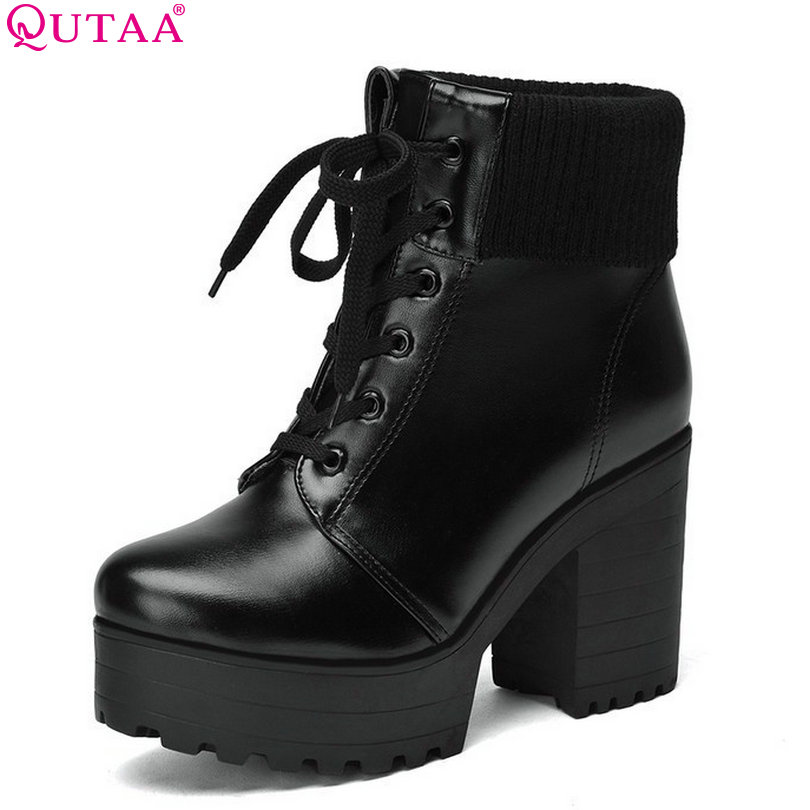 QUTAA New Round Toe Women Boots Winter Shoes Platform Punk Ankle Boots For Women Size 34-43