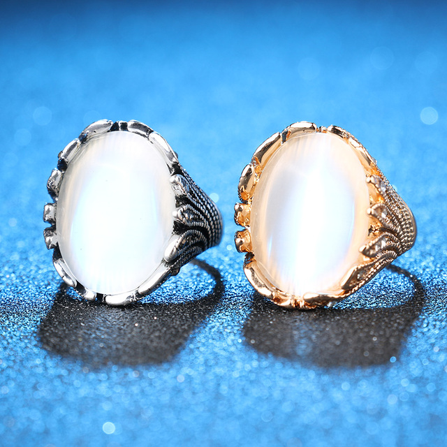 Hot Big Opal Rings For Women Color Silver Vintage Jewelry Mosaic Crystal Petals Ring New Fashion 2016