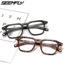 Seemfly Vintage Square Glasses Frame Wiomen Men Rivet Flat Mirror Clear Lens Eyeglasses Unisex Eyewear Male Optical Spectacle