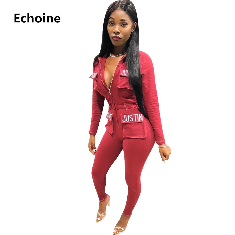 Obliging Women Letter Print Embroidery Jumpsuit Zipper Pocket Casual Slim Bodycon Woman Romper Sportswear Club Outfit Streetwear Sporting Buy One Give One