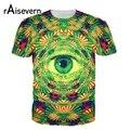 Raisevern Nueva Weed 3D T Shirt Trippy Psicodélico de Ojos Patrón Lleva para Un Ojo que todo lo ve de la camiseta Hombres de Las Mujeres Tes de Las Tapas Más El Tamaño