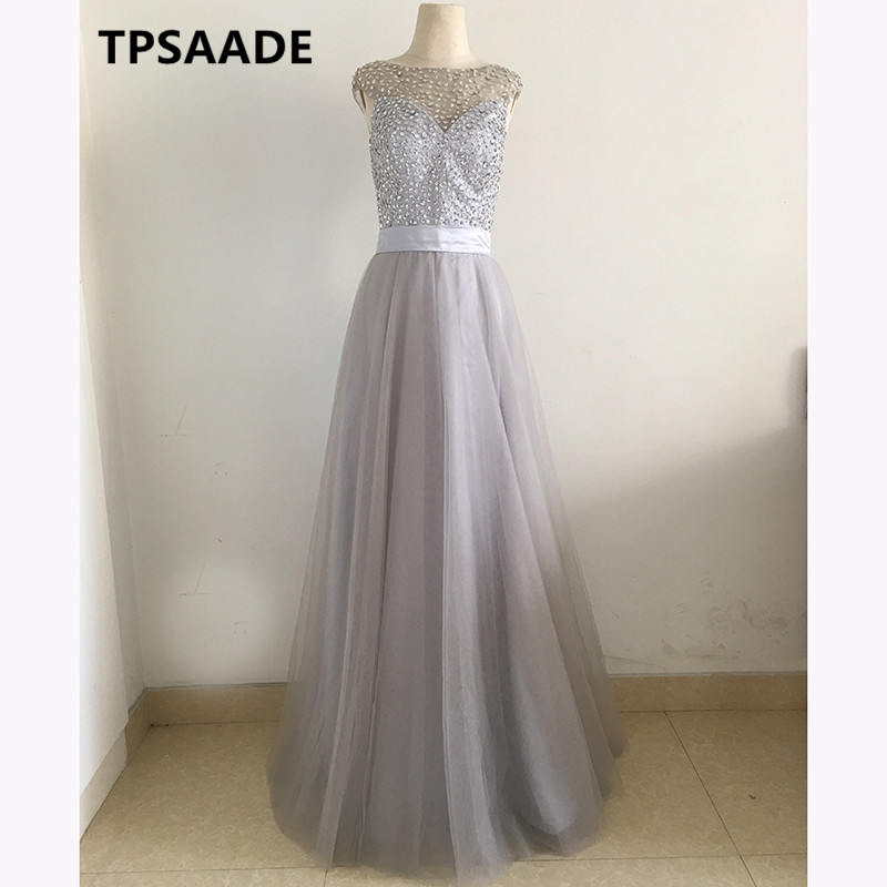 Robe De Soiree Real Photos Tulle Lace light grey Party Occasion Formal Long Evening Dress 2017 Evening Gowns dresses Custom Size