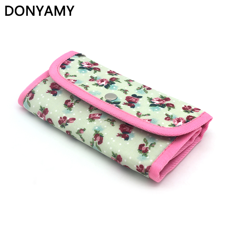 DONYAMY 1Pcs Lady Pouch Knit Crocheting Needle Case Print Crochet Hook Holder Organizer Bag Sewing Tools Accessory