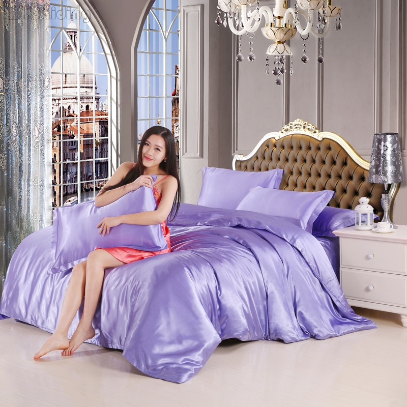 Wholesale 100% Pure Satin Silk Bedding Set Luxury Purple Solid Color for Room Bed Linen 3/4pcs Bedclothes Twin Queen King SizeWholesale 100% Pure Satin Silk Bedding Set Luxury Purple Solid Color for Room Bed Linen 3/4pcs Bedclothes Twin Queen King Size
