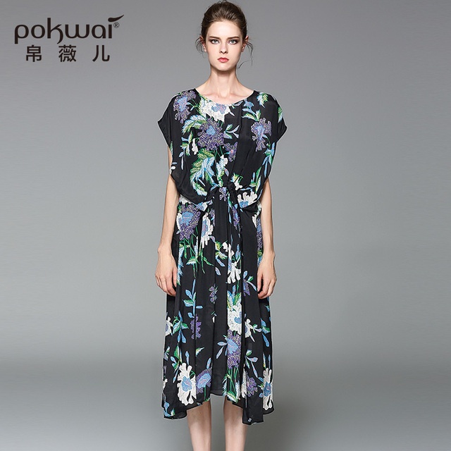 POKWAI Maxi Elegant Casual Summer Silk Dress Women Fashion High Quality  2017 New Batwing Sleeve Sashes Floral A-Line Dresses