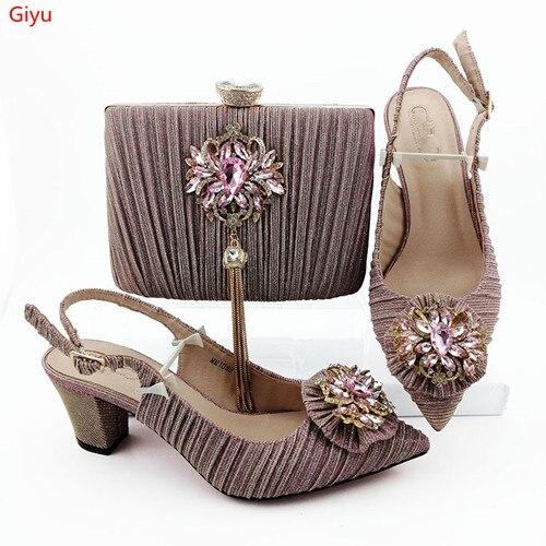 Doershow belles chaussures italiennes et sac pour correspondre à la bonne qualité nouvelle mode chaussures de couleur rose et sac ensemble pour dame!! HVC1-22