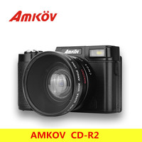 AMKOV CD-R2 Digitale Camera Video Camcorder 24 M Full HD 3 Inch Tft-scherm Met UV Filter 0.45X Met Super Groothoeklens