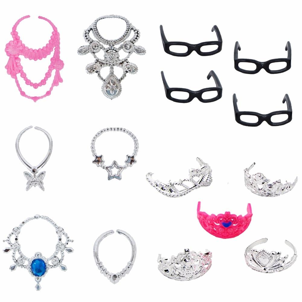 4 Pcs Plastic Glasses + 6 Pcs Fashion Plastic Chain Necklace + 5 Pcs Crown Princess Empress Accessories For Barbie Doll Toy