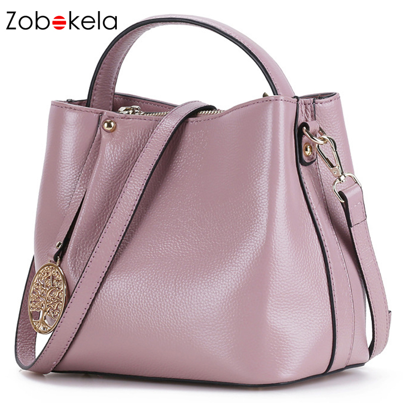 все цены на ZOBOKELA Genuine Leather Women Messenger Bag female luxury handbag women bag designer Ladies women Shoulder Bag crossbody tote