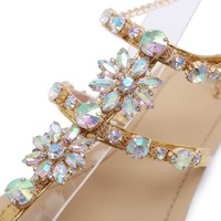 2018 Woman Sandals Women Shoes Rhinestones Chains Thong Gladiator Crystal Flat Heels Sandals Five Color Plus Size 46 5