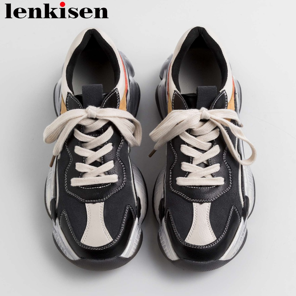 Street style vintage mixed colors natural leather thick high bottom platform round toe large size sneakers