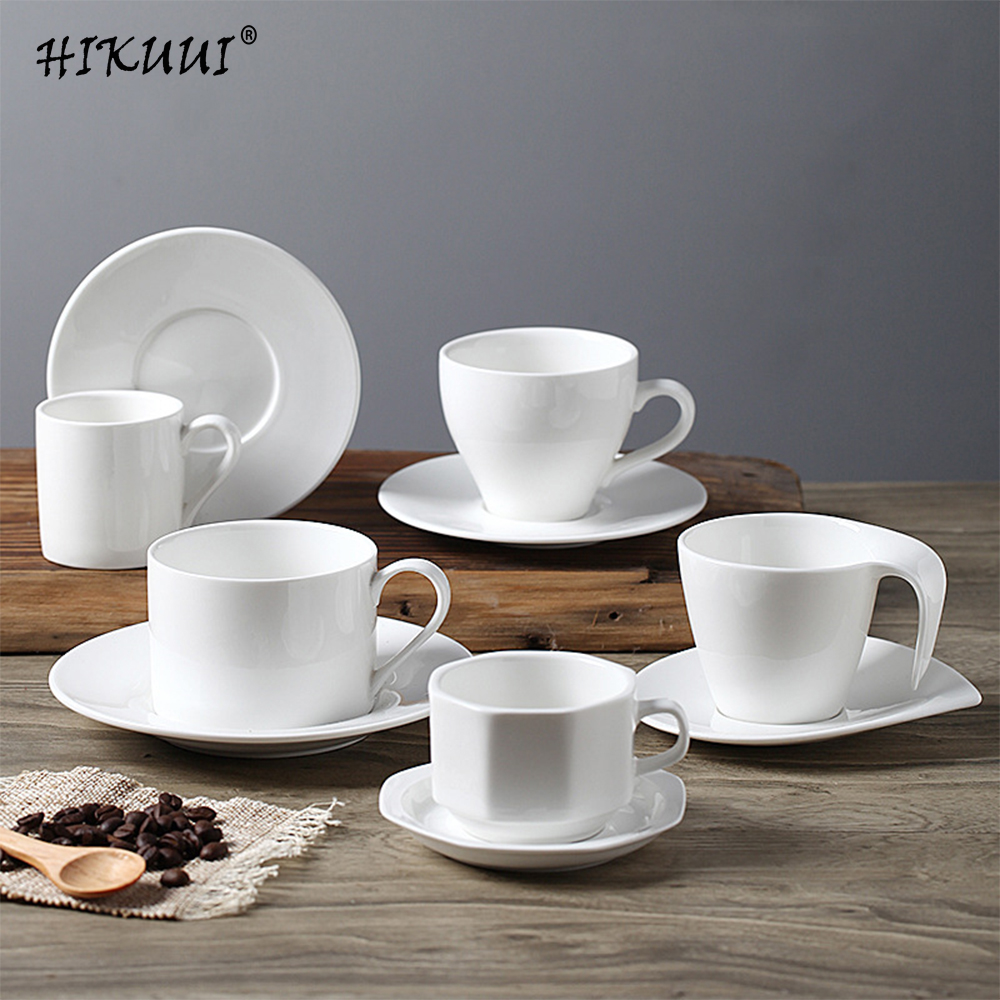 Minimalist Life <font><b>Coffee</b></font> <font><b>Cup</b></font> <font><b>Porcelain</b></font> <font><b>Cup</b></font> & Saucers Pure White Afternoon Ceramic Tea <font><b>Cups</b></font> With Trays Drinkware image