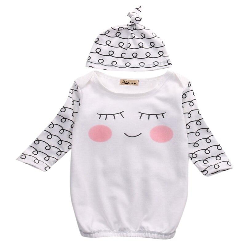 Вырезать Новорожденных детская Одежда Сонные Глаза Розовые Щеки Ребенка Платье Hat Младенческой Новорожденных Coming Home Пижамы Спальные Мешки