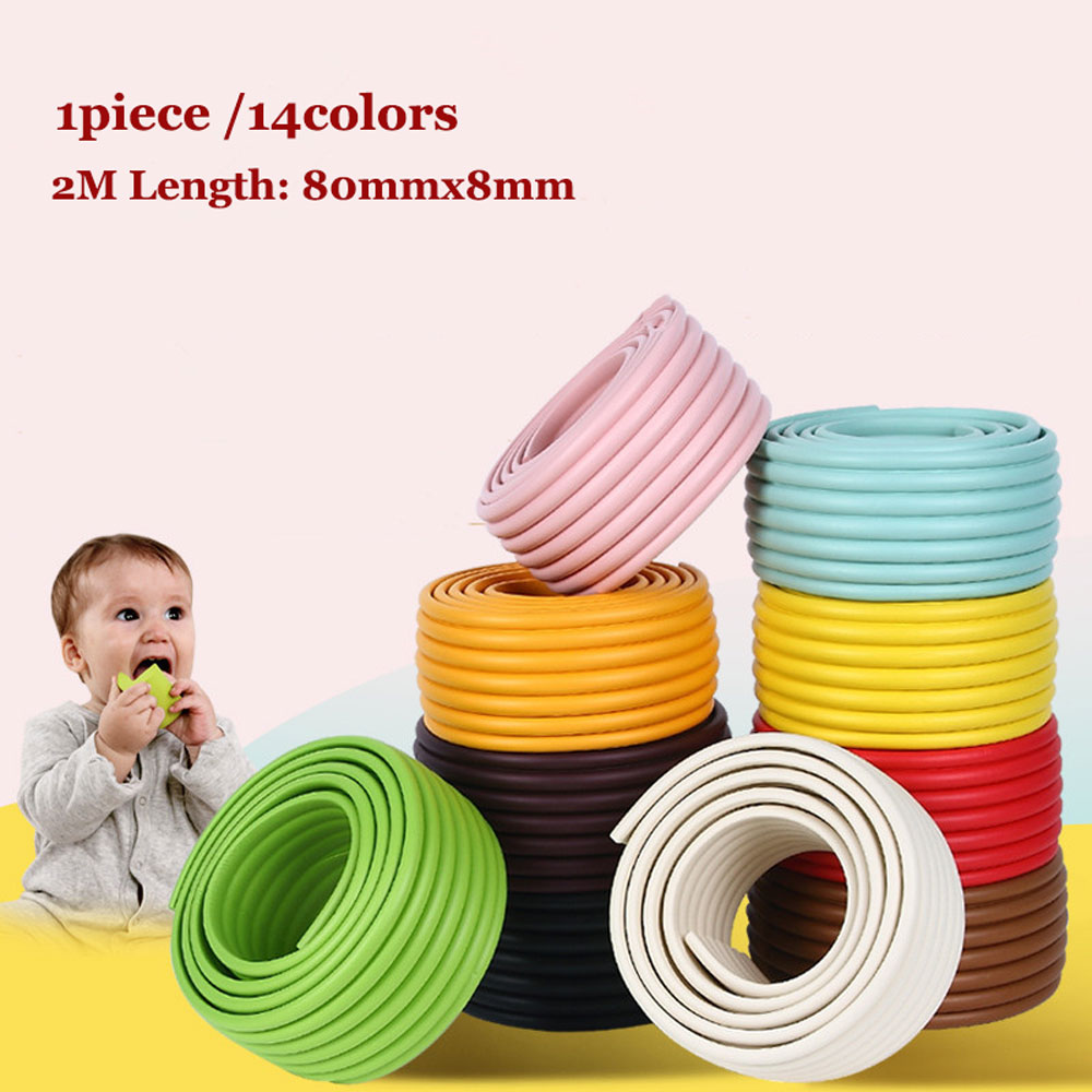 2M Baby Kids Table Desk Bumper Strip Furniture Edge Corner Safety Guard Security Protector 80mmWide Crash Bar Strip With 4M Tape