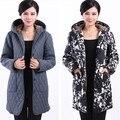 Grosso casaco de inverno casaco longo das mulheres de meia idade com capuz outwear algodão adicionado 6XL gordura mãe idosa acolchoado casacos