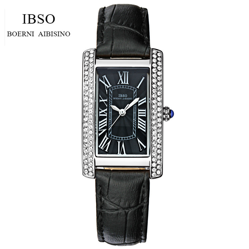 IBSO Brand Fashion Women Leather Wristwatch Luxury Lady Square Dress Watch Analog Quartz Watch Relogio Feminino IB09 high quality 2016 luxury brand fashion women geneva roman watch lady pu leather analog quartz wristwatch relogio masculino mujer