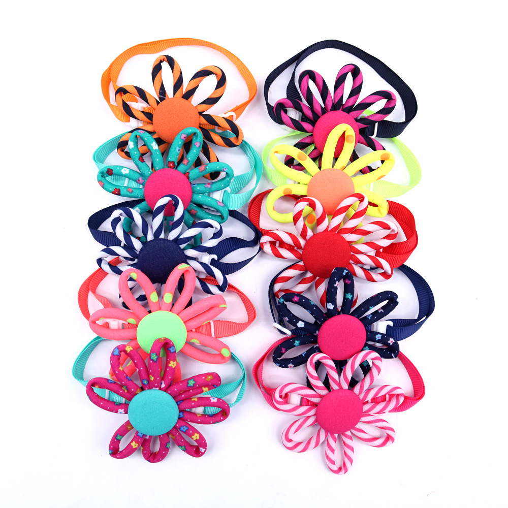 Wholesale 60PCS/Pack Adorable Pet Puppy Dog Flower Bow Ties Adjustable Bowties Accessories Grooming Products
