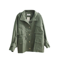 Fashion army green jacket women turn down collar single breasted coat outerwear 2019 new spring autumn