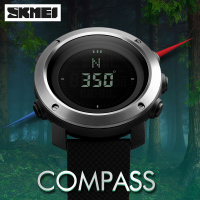 SKMEI Outdoor Hiking Sports Compass Watches Waterproof Countdown Multifunction Digital Wrist watch Stainless Steel Men's Watches