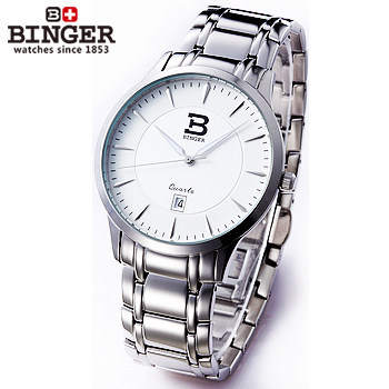 Здесь можно купить   Fashion Binger Geneva Brand Full steel Quartz watch Man luxury casual dress wristwatches white dial clock Alloy relogio Watches Часы
