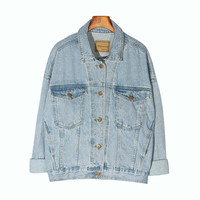 Vintage Women Jacket 2019 Autumn Winter Oversize Denim Jackets Washed Blue Jeans Coat Turn down Collar Outwear Bomber Jacket