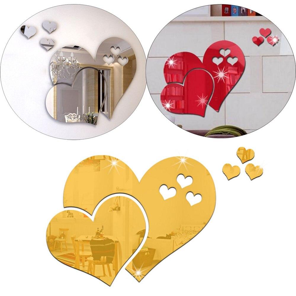 1 Set 3D Mirror Love Hearts Wall Sticker Decal DIY Home Room Art ...