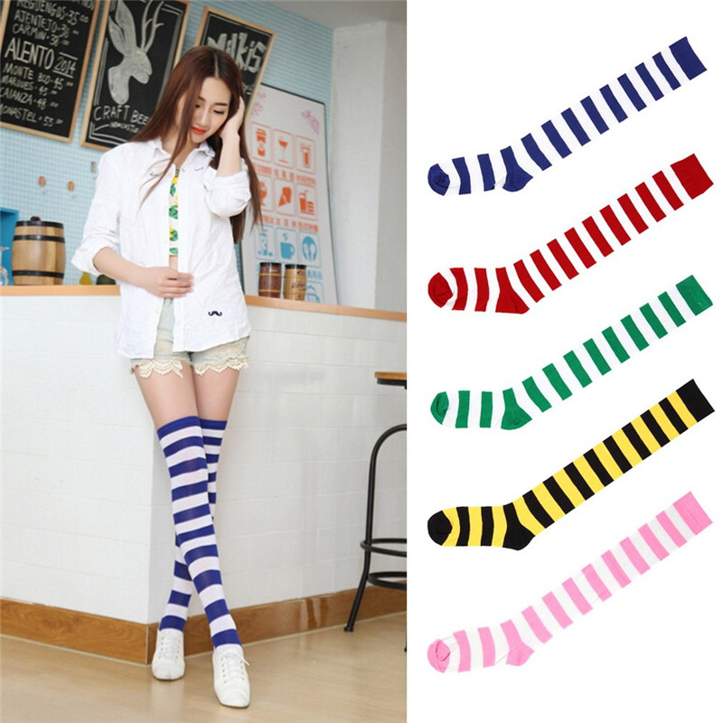 Fashion Striped Knee Socks Women Cotton Thigh High Over The Knee Stockings for Ladies Girls 2017 Warm Long Stocking Sexy Medias ...