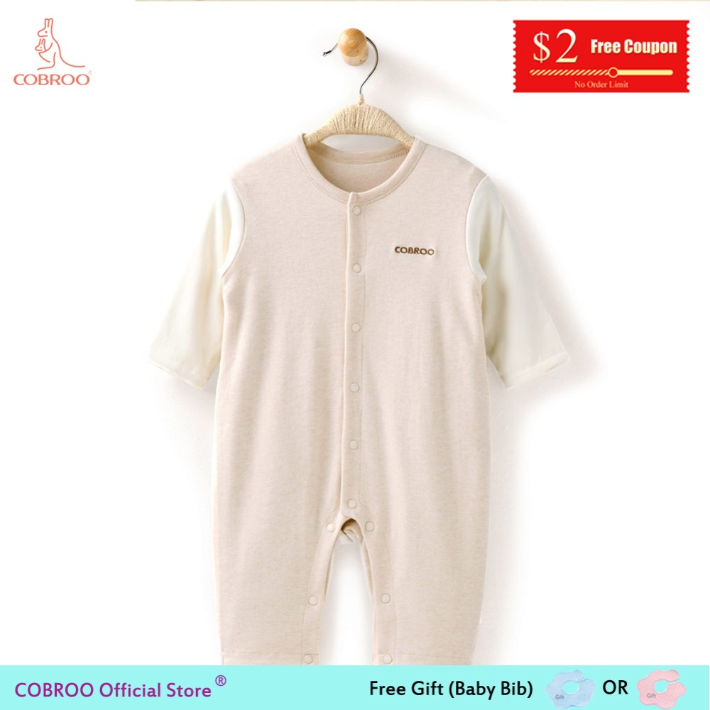 0f6fd1c09 COBROO Newborn Rompers Boy Girl Baby Clothes 0 12 Month Long Sleeve Infant  Wear Organic Cotton Baby Rompers NY550043-in Rompers from Mother & Kids on  ...