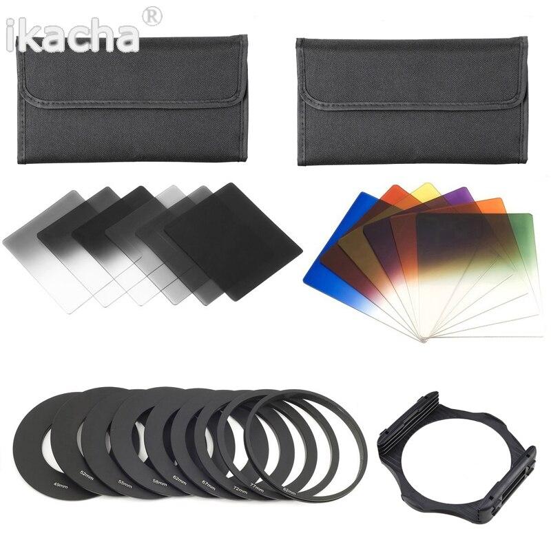 Nuovo laureato nd2 4 8 16 blue orange filtro rosso + holde + 49 52 55 58 62 67 72 77 82mm 9 anello adattatore del supporto per cokin p kit
