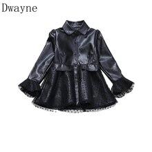 2020 crianças jaqueta de couro para meninas primavera roupas rendas manga longa casaco artificial grande menina moda blusão casaco