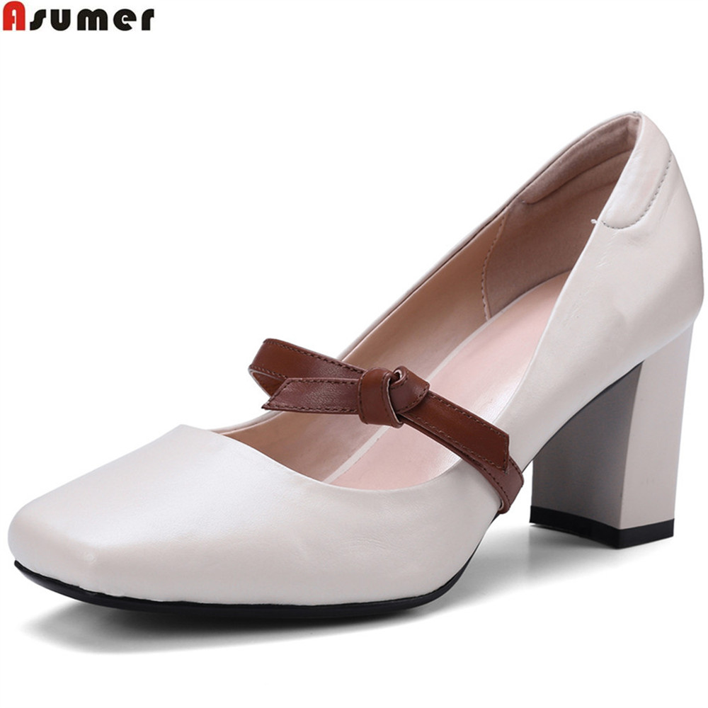 Asumer black beige fashion new arrival women pumps square toe genuine leather shoes square heel shallow high heels shoes asumer beige fashion summer shoes woman square toe shallow elegant sandals women genuine leather high heels shoes