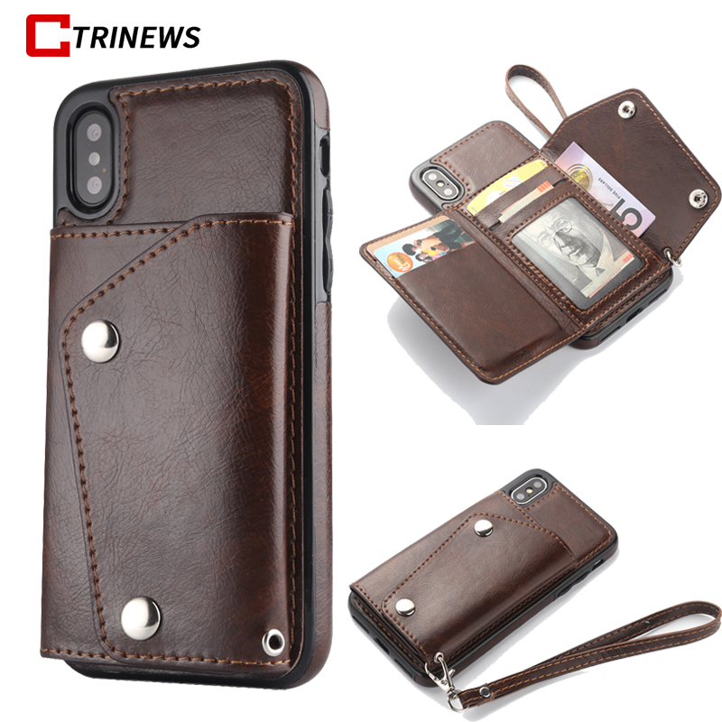 Leather Wallet Phone Bag Case For iPhone X 8 7 6 6S Plus Card Slot Holder Magnet Flip Cover For Samsung Galaxy S8 S9 Note 8 Case