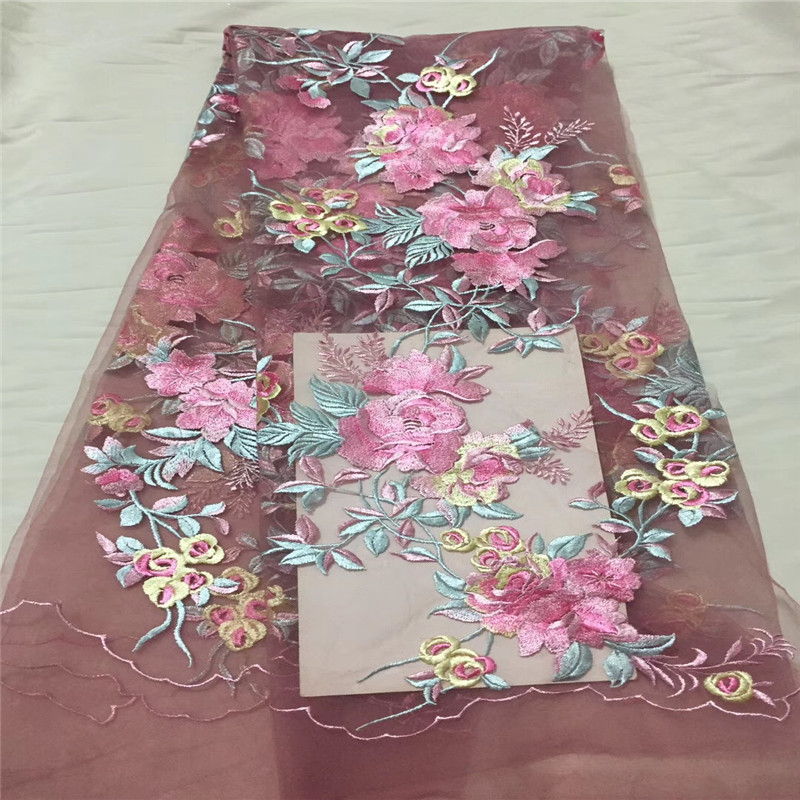 Newest African Lace Fabric, 3D Lace Fabric Pink Color High Quality Lace, Nigeria Lace Fabric For Aso Ebi  HJ1142-1  Newest African Lace Fabric, 3D Lace Fabric Pink Color High Quality Lace, Nigeria Lace Fabric For Aso Ebi  HJ1142-1