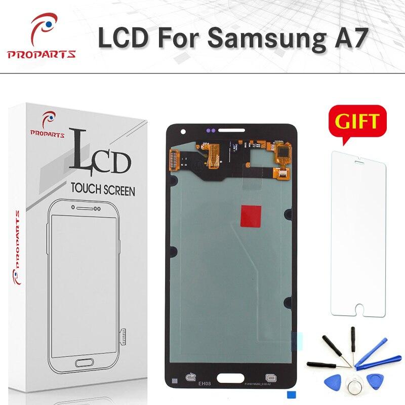Super AMOLED Écran LCD pour Samsung Galaxy A7 2015 SM-A700 A700F LCD Écran Tactile Digitizer Verre Capteur Moniteur Assemblée + outils