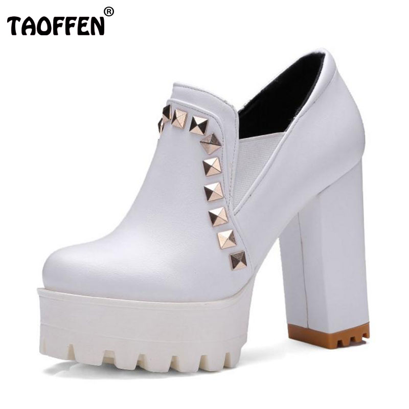 TAOFFEN Size 33-43 Female High Heels Shoes Women Round Toe Platform Rivets Thick High Heeled Pumps Office Ladies Heels Footwears taoffen women high heels shoes women thin heeled pumps round toe shoes women platform weeding party sexy footwear size 34 39