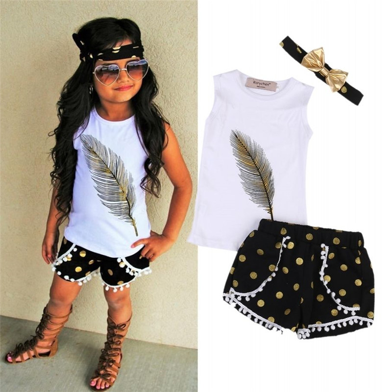 2351b16a8 Kids Toddler Baby Girl Clothes Off Shoulder bow solid short sleeve strap  pullover Tops Ruffle Polka Dot Shorts 2pc lovely outfit