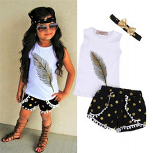 3Pcs/set Outfit Baby Kids Girls Tops+ Short+Bow-knot Headband Summer Kid Girl Clothes Set