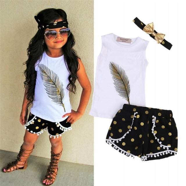 3Pcs/set Outfit Baby Kids Girls Tops+ Short+Bow-knot Headband Summer Kid Girl Clothes Set