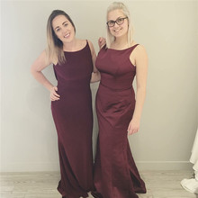 New Red wine Burgundy Bridesmaid Dresses Long Mermaid Sleeveless Off Shoulder Two Style Bridesmaid Dress 2017 trouwjurken Robes