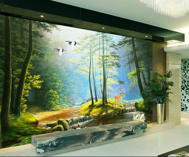 Kundenspezifische 3d fototapete 3d wandbilder wallpaper landschaftsmalerei wald - 3d wandbilder wohnzimmer ...