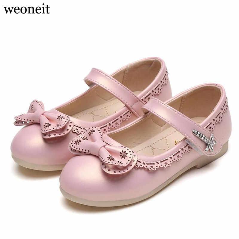 Weoneit Children Princess Shoes Pink  Red Blue PU Leather Fashion Bowknot  Flower Girls Dress 59823862f978