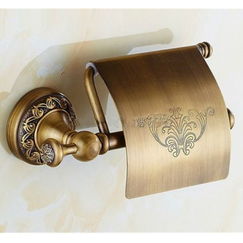 High Quality Brass Wall Mounted Antique Bathroom Toilet Paper Roll Holder Flower Print Toilet Paper Tissue Towel Storage Rack