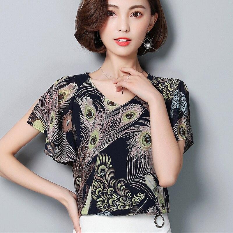 De Las Mujeres elegantes Blusas de Impresión Ocasional Del Verano Blusas Gasa de